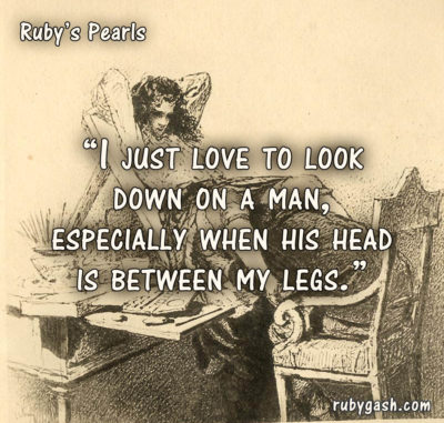 Ruby's Pearls - I just love to look down on a man, especially when his head is between my legs